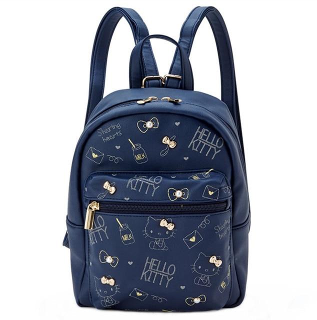 5d475292ee Cute Hello Kitty PU Leather Mini Backpack Women Girls Small Bag Dark Blue  Fashion Back Pack Rucksack Travel Bag