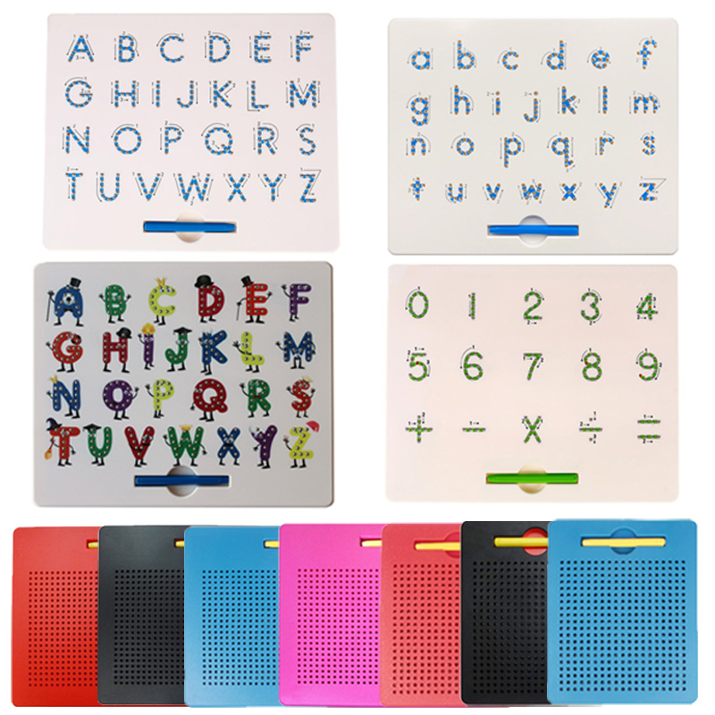 New Magnetic Tablet Drawing Board Pad Toy Bead Magnet Stylus Pen 26 Alphabet Numbers Writing Memo Board Learning Educational Toy