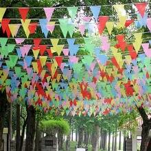 50 metros de tecido feito à mão bunting triângulo bandeiras festival casamento galhardete string banner buntings colorido atacado