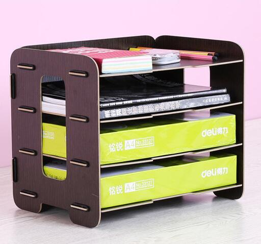 ФОТО A4 Multi Layer Wooden Kawaii File Rack High-quality School Magazine Holder Office Bookshelf Creative Document Tray