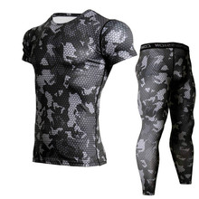 Camouflage Men's Running Suits Crossfit Tracksuit Jogging Compression Set Men Short Sleeve T Shirt Leggings Gym Fitness Tights недорого