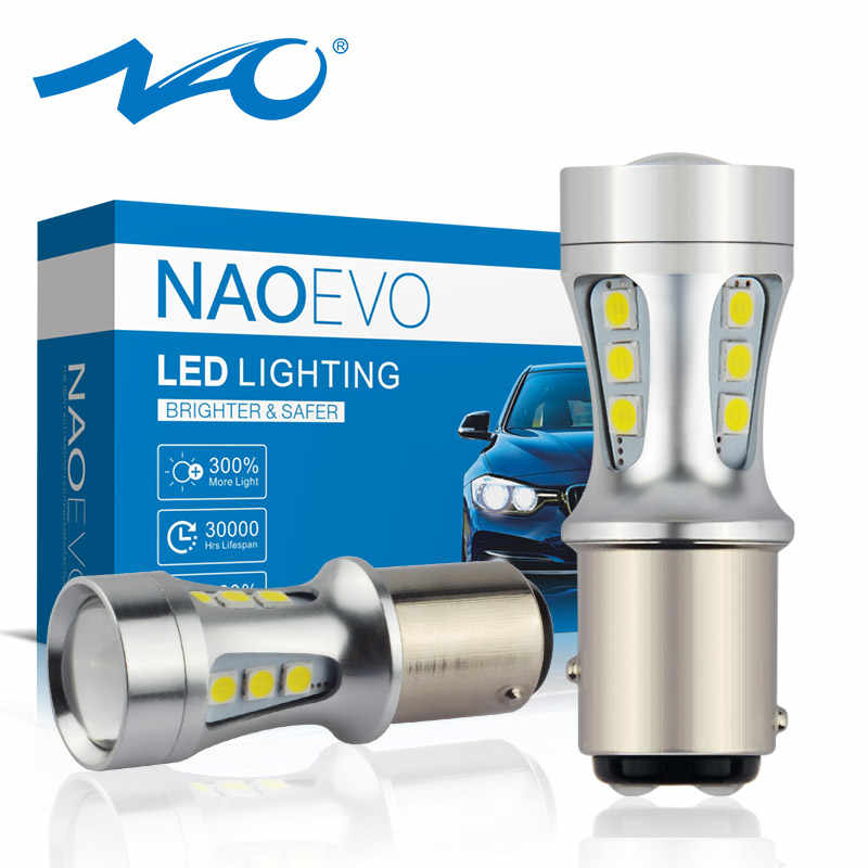NAO P21 5W BAY15D led P21/5W Stop LED Car 1157 red Bulb Signal for Brake DRL Lamp Tail Reverse Light Yellow 6000K White Amber