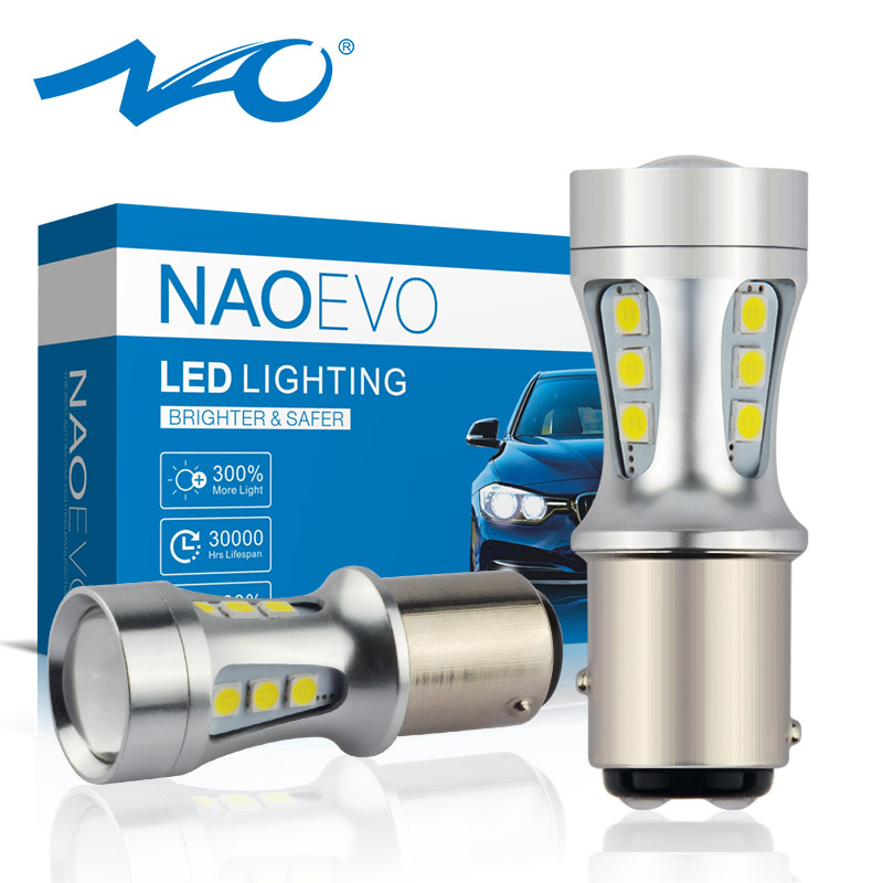NAO P21 5W BAY15D Led P21/5W Stop LED Car 1157 Red Bulb Signal For Brake DRL Lamp Tail Reverse Light Yellow 6000K White Amber