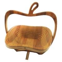 מתקפל מעשי סל/סל במבוק בצורה של אפל עבור פירות (עץ יומן) סגנון טבע בית מטבח אחסון סל