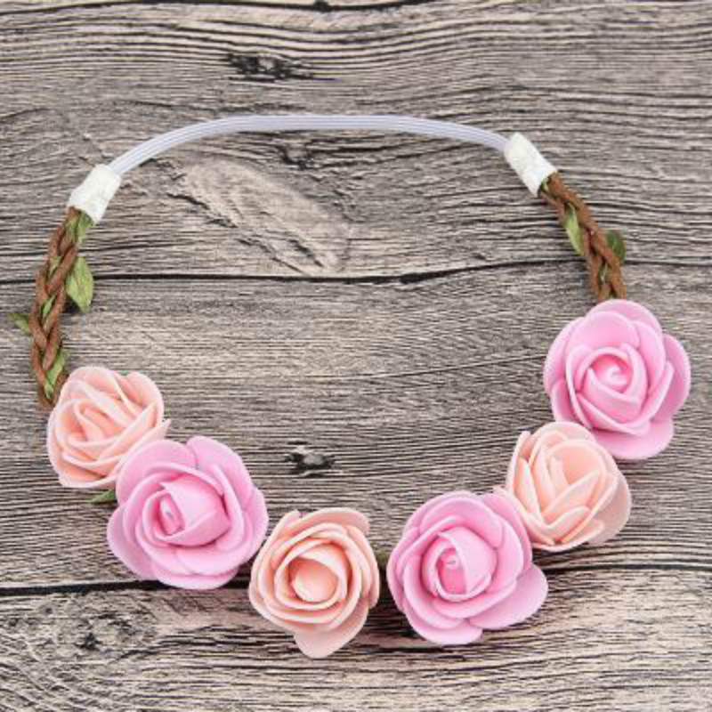 Hot Sale Flower Headband Beautiful Rose Flower Headbands For Girls Bohemian Style Wreath Wedding Floral Garland Hair Accessories