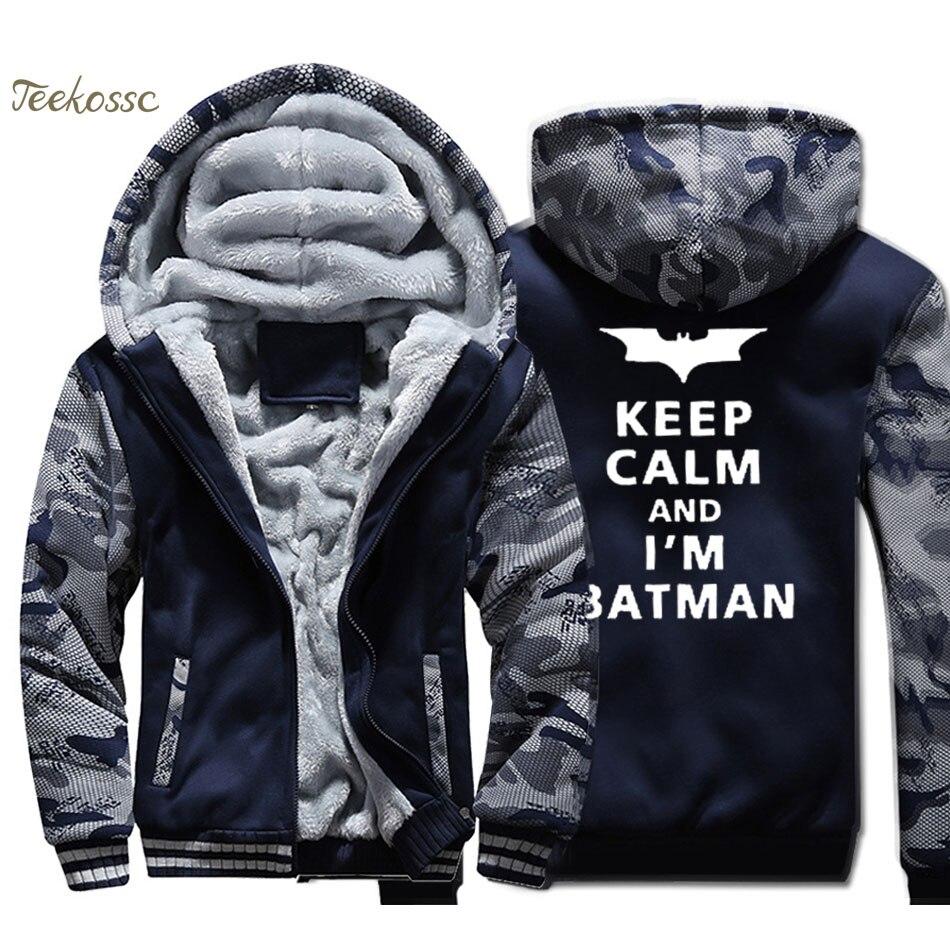 Batman Hoodie Men Keep Calm and I'M Batman Sweatshirt Mens Super Hero Coat Winter Thick Fleece Warm Zip up Funny Print Jacket