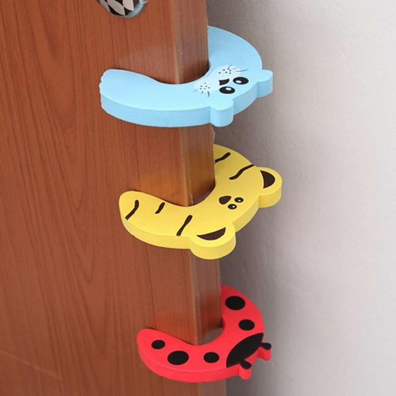10pcs/lot Baby Safety Door Stopper Kids Finger Protecting Guard Children Safe Door Stop Holder Child Animal Cartoon Door Card