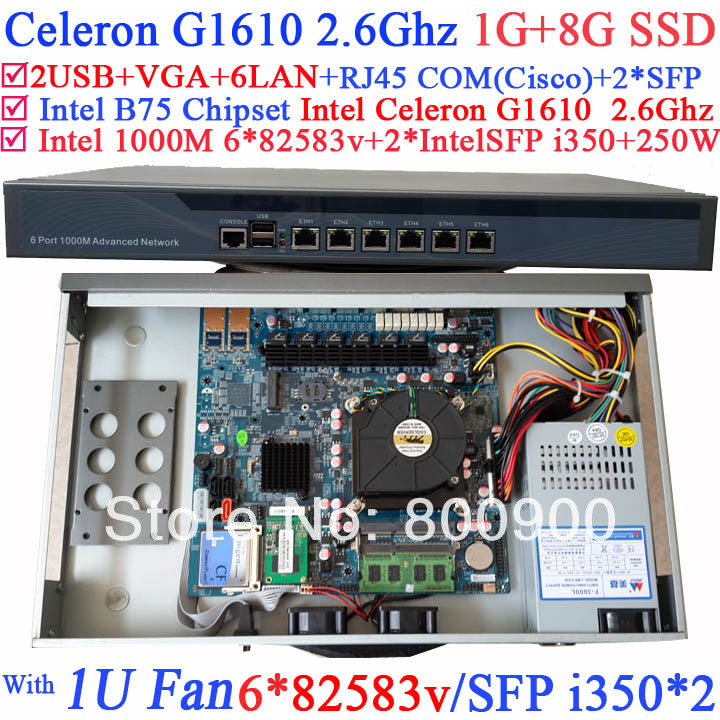 1u firewall network appliance hardware with 8 ports gigabit lan 4 spf intel core i7 4770 4g ram 64g ssd mikrotik pfsense ros Enterprise-class router 1U network router with 8 ports Gigabit lan Intel Celeron G1610 2.6Ghz 1G RAM 8G SSD Mikrotik PFSense ROS