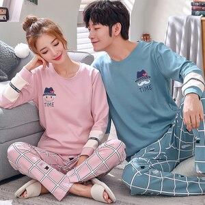 Image 1 - Пижамный комплект для мужчин и женщин, мягкая хлопковая одежда для сна с длинным рукавом и принтом, пикантная весенняя одежда для дома, для пар, подарок