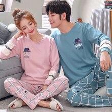 Pijama setleri kadınlar baskı yumuşak pamuk karton moda erkek uzun kollu pijama takım elbise 2 parça seksi bahar ev çift şezlong hediye
