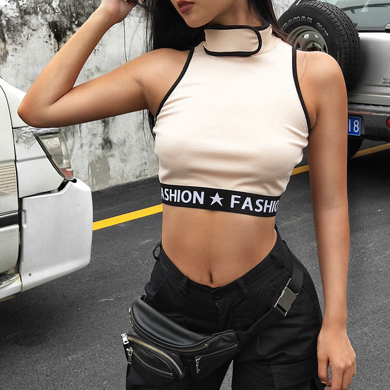 Summer Sexy Sleeveless Crop Top Women Halter Skinny Sports Bra Solid Tank Top Tees Female Fitness Camis Casual Tops in Tank Tops from Women 39 s Clothing