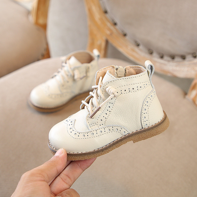Autumn 2018 New 1-3 year old girls shoes boys genuine leather Non-slip Cowhide Fashion Martin boots Super soft and comfortable Girl's Shoes