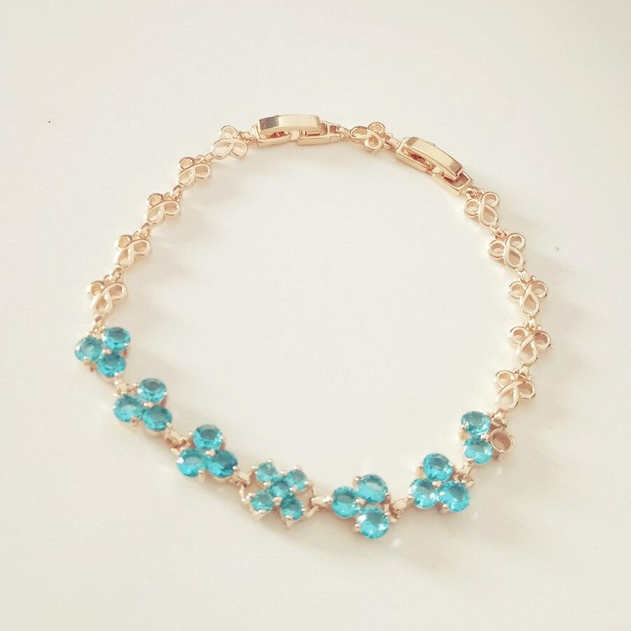 Fashion Women Bracelet Flowers Light Blue Zircon Bracelets ...