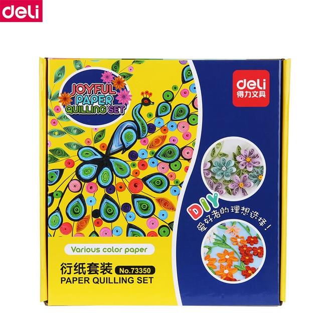 Del 73350 Joyful Paper Quilling Set kit DIY Handmade Origami Primary School Children's Derivative Paper Line Drawings Flower Art