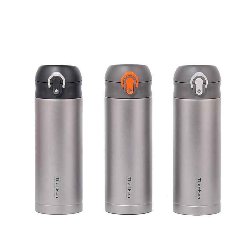 Tiartisan 400 ml extérieur titane Double paroi Vacuume bouteille d'eau thé tasse à café pour la maison en plein air hommes femmes utiliser 270g Ta8396