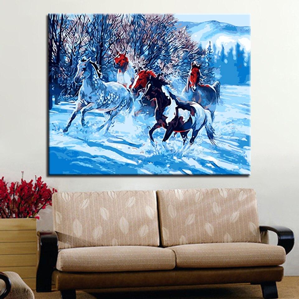 Bunte Beleuchtung Pferd Tier DIY Ölgemälde Durch Zahlen Kits Wand Kunst Bild Acrylfarbe Auf Leinwand Für Kunstwerk Home decor