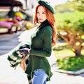 Оригинальный 2016 Бренд Сплошной Цвет Трикотажные Пуловеры Осень Зима Плюс Размер Элегантный Водолазка Теплый Свитер Женщин Оптом