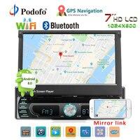 Podofo Авторадио Android стерео радио gps навигации 1 din 7 Выдвижной Сенсорный экран автомобиля DVD мультимедийные плееры Car audio