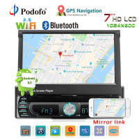Podofo Android 8.0 Car DVD Player Stereo Radio1 din 7 Retractable Touch Screen Multimedia Players GPS Navigation Autoradio BT