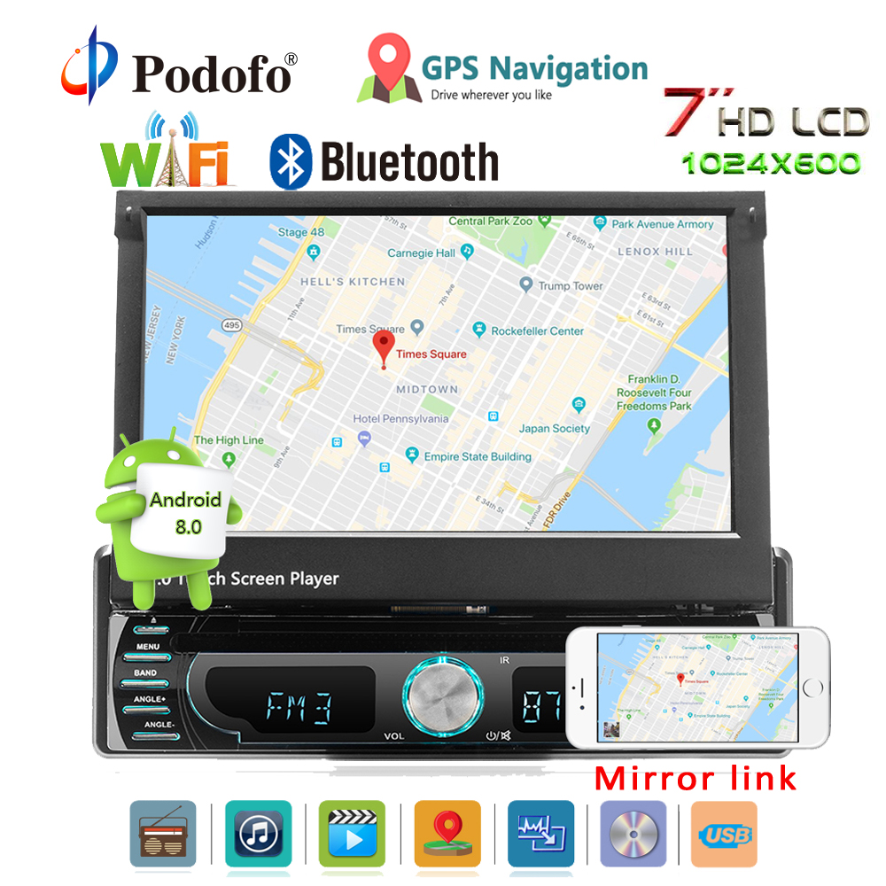 Podofo Autoradio Android De Voiture Stéréo Radio GPS Navigation 1 din 7 Rétractable Tactile Écran Voiture DVD Multimédia Joueurs voiture audio