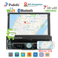 Podofo Autoradio Android Car Stereo Radio GPS Navigation 1 din 7 Retractable Touch Screen Car DVD Multimedia Players car audio