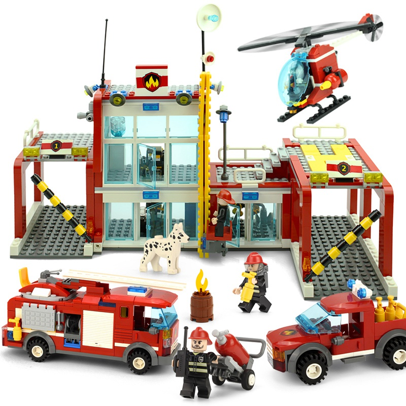 KAZI The Fire Department Rescue With Vehicles Helicopter Building Block Sets Bricks Educational Toys For Children Gifts kazi fire department station fire truck helicopter building blocks toy bricks model brinquedos toys for kids 6 ages 774pcs 8051