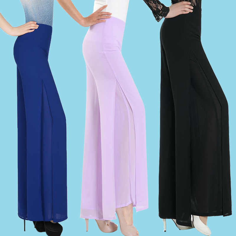 Hot Sale Ladies Baggy Pants Summer Casual Pants Womens Wide Leg Fashion High Waist Side Split Black White Chiffon Pants Big 4XL