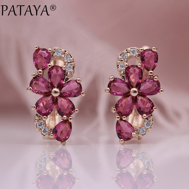 HTB1UYgEc6fguuRjSszcq6zb7FXaa - PATAYA New Water Drop Plum Blossom Dangle Earrings Women Fashion Trendy Jewelry 585 Rose Gold Petal Natural Zircon Blue Earrings