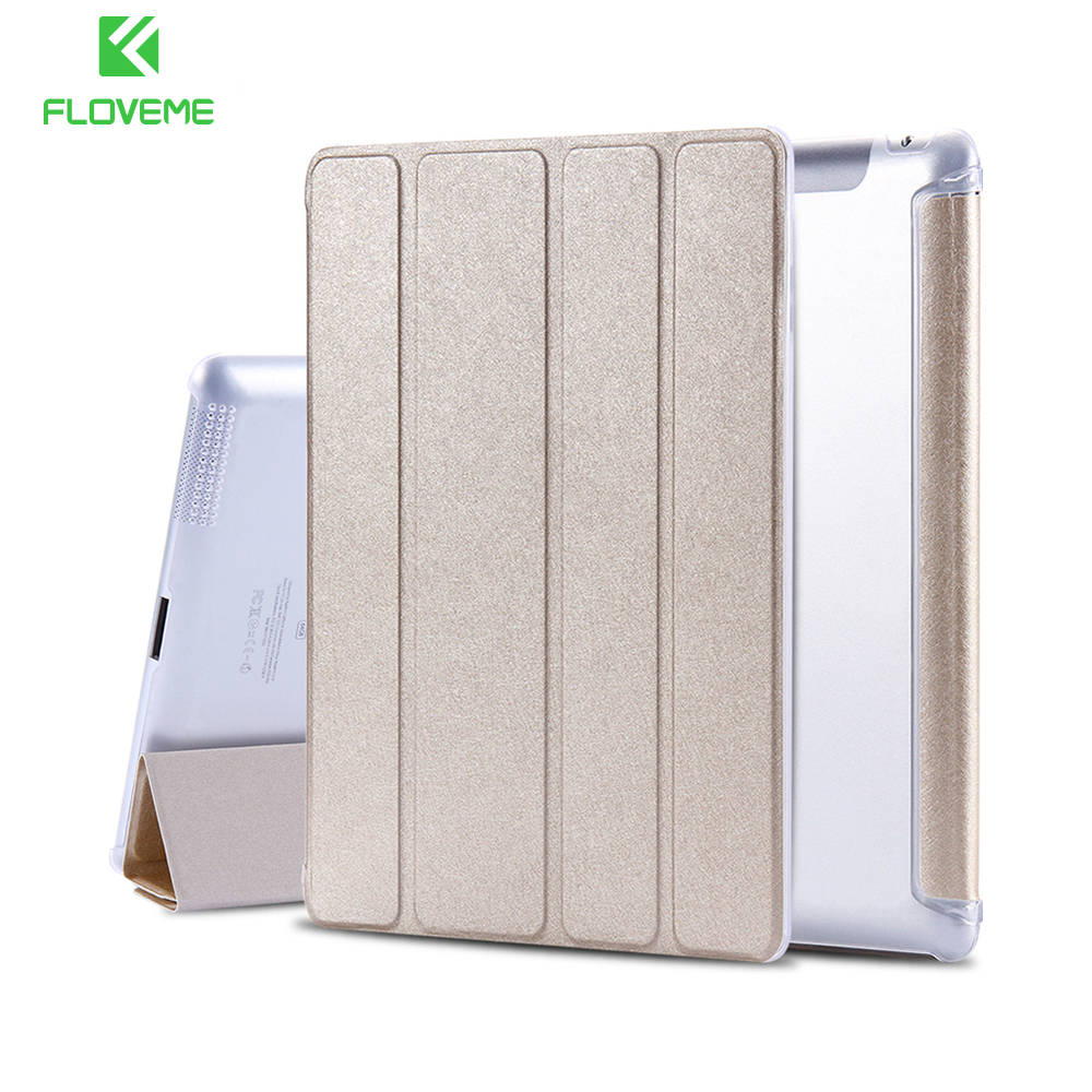 FLOVEME Case For Apple iPad 4 2 3 Smart Awake Thin Silk Leather Cases Tablet Accessories Full Protector Case For i Pad 2 3 4 for apple ipad air 2 pu leather case luxury silk pattern stand smart cover
