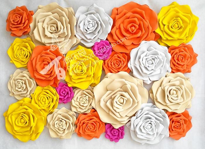 25 Cm Artificial Foam Roses Large Flowers Wall for Weddings Custom ...