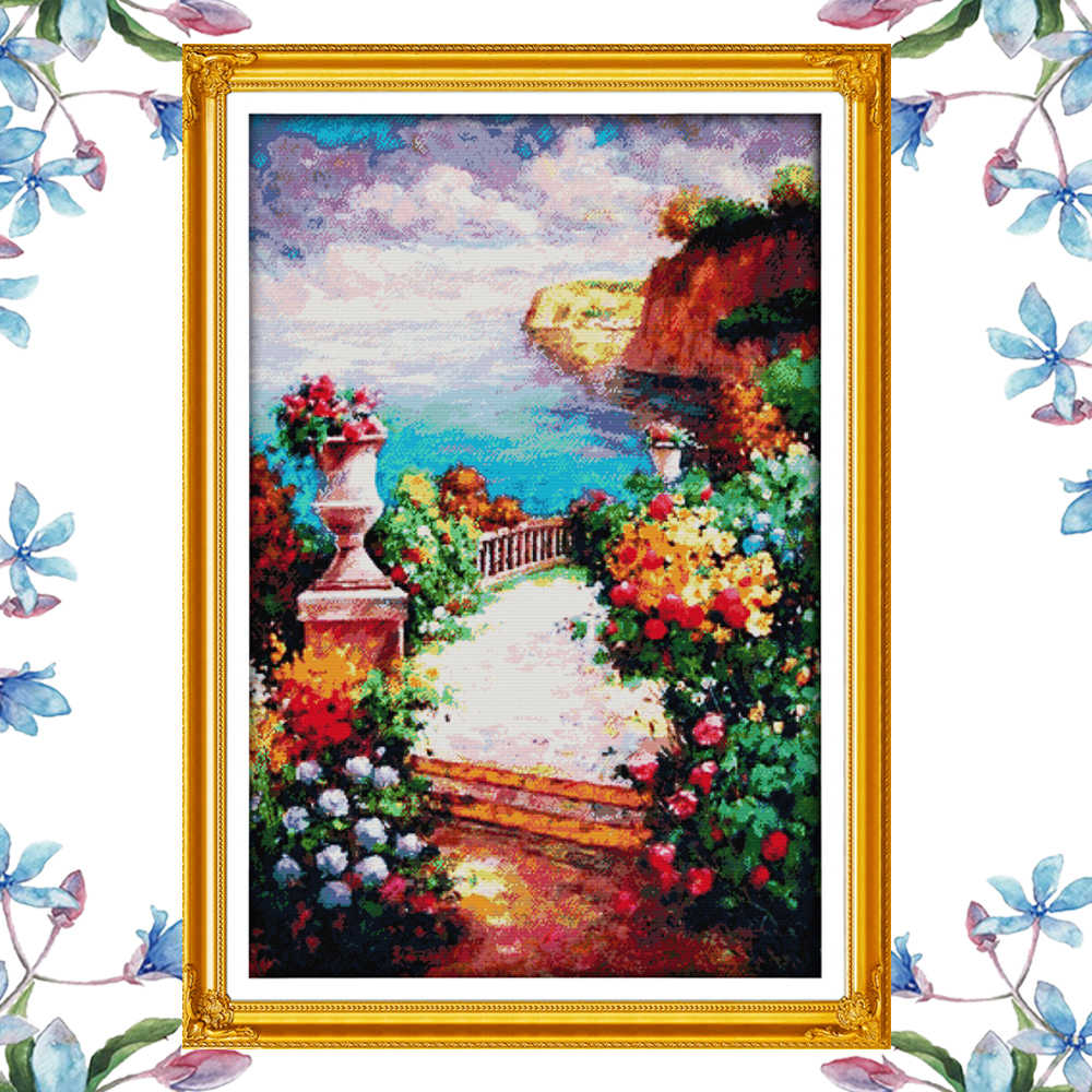 NKF The beach path among the flowers scenery style modern designs needlecraft kits counted cross stitch sets for home decoration