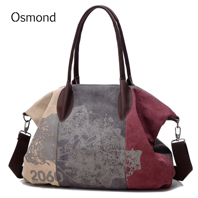 Osmond Kanvas Wanita Bag Kasual Handbag Hobo Bahu Crossbody Beg Graffiti Besar Big Trapeze Totes Perempuan Messenger Bags 2018