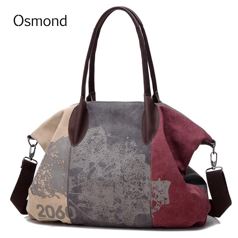 Osmond Canvas Женская сумка Повседневная сумка Hobo Сумки через плечо Crossbody Большие граффити Большие сумки-трапеции Женские сумки Messenger 2018