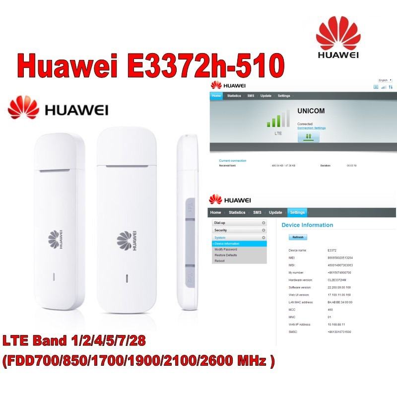 Lot of 100pcs Huawei E3372h-510 LTE Band 1/2/4/5/7/28 FDD700/850/1700/1900/2100/2600MHz USB Modem including DHL &1 pair antenna conception of patch antenna at wide band