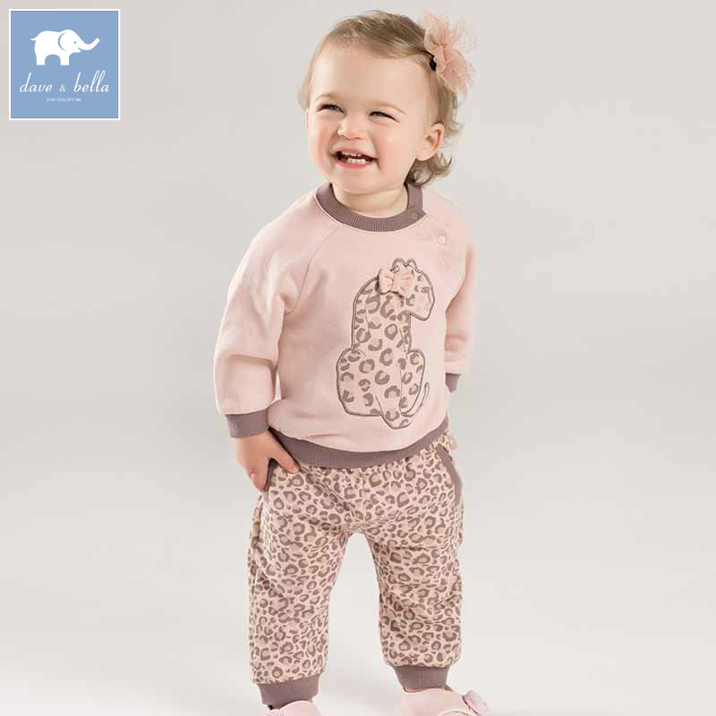 DBJ7878 dave bella autumn infant baby girls fashion pink leopard clothing sets children 2 pc toddler