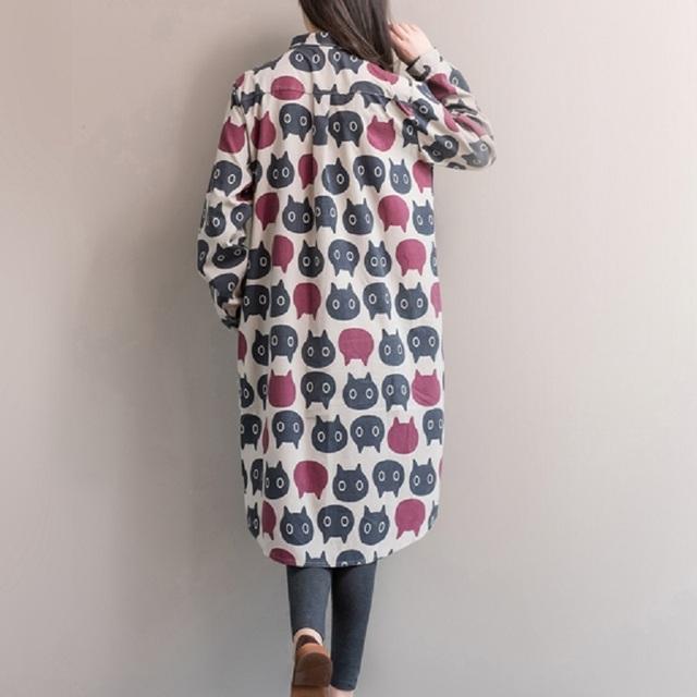 Tunic Cotton Linen Cat Pattern Printed Long Sleeve Big Size