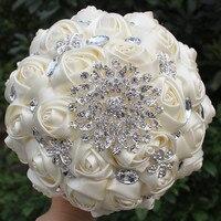 Hnadmade Marfim Fildişi Renk Yapay Çiçekler Buketleri Gelin Çiçekler Düğün Buket Kristal Dikiş Gelinlik Buketleri W236-4