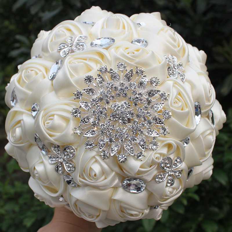 crystal wedding flower bouquets hnadmade marfim ivory color artificial flowers bouquets 3216