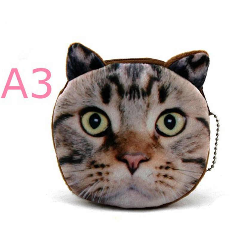 20 Estilos New 3D impressão Gato/Cão Rosto Caso Zipper Crianças moeda Bolsa Da Senhora Bolsa Carteira Bonito Da Menina Das Mulheres de Maquiagem Saco de Buggy