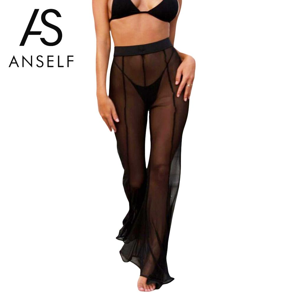 2019 Summer Sexy See Through Trousers for Women Sheer Mesh   Wide     Leg     Pants   Flare   Pants   High Waist Solid Palazzo Bell Bottom   Pants
