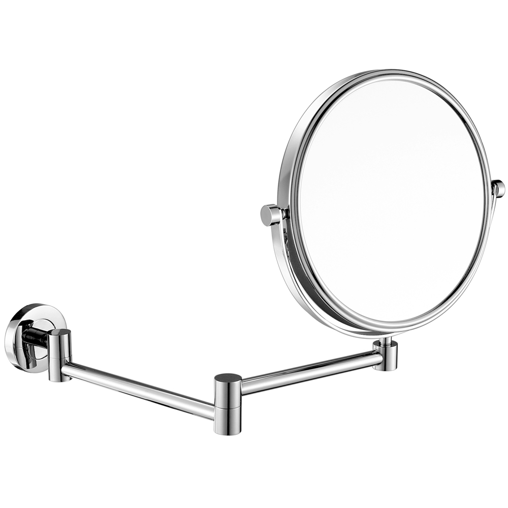 Modern Bathroom Wall Mounted Mirrors for Shaving or Make-up, Double sided Chrome Mirror with 7X/5X Magnifying 10x and NormalModern Bathroom Wall Mounted Mirrors for Shaving or Make-up, Double sided Chrome Mirror with 7X/5X Magnifying 10x and Normal