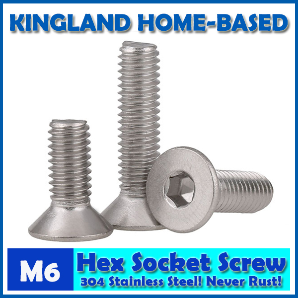 M6 DIN7991 Hexagon Hex Socket Countersunk Flat Head Cap Screws 304 Stainless Steel DIY Home Maintain Matel Working m4 din7991 hexagon hex socket countersunk flat head cap screws 304 stainless steel diy home maintain matel working