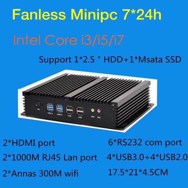 Fanless Industrial Mini PC Win10 Core i3 4010U i5 4200u i7 5550U 2*Intel Gigabit Lans 6*RS232 8*USB Micro Computer 2*HDMI