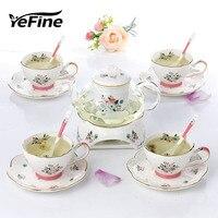 YeFine Tea Set European Afternoon Tea Heat resisting Glass Teapot Household Cooking Bubbles Fruit Tea Relief Ceramic Teacup