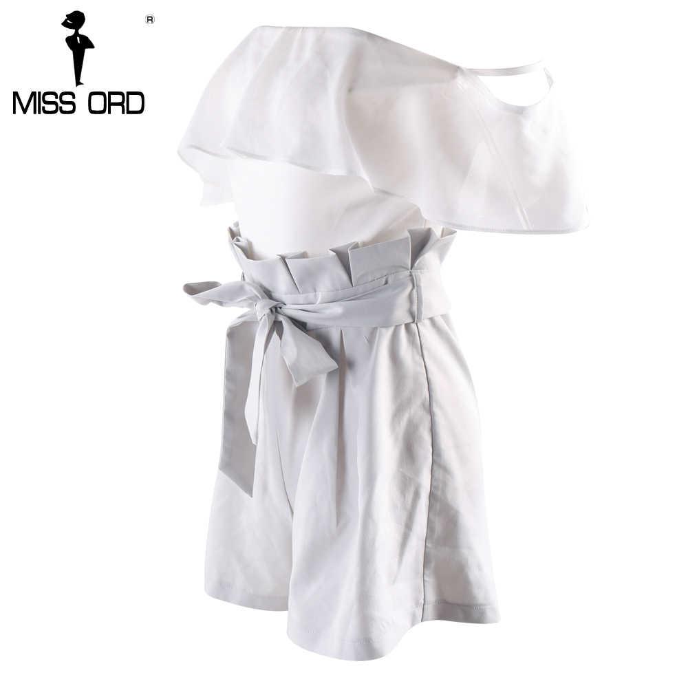 MISSORD 2019 сексуальный комбинезон с косой вырез с оборками без бретелек FT8180