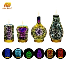 3D Colorful Fireworks LED Night Light Air Humidifier Aroma Oil Diffuser for home Mist Ultrasonic Sprayer Aromatherapy Lamp