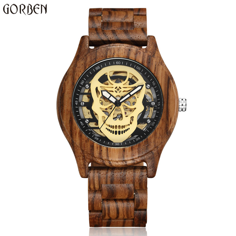 Fashion Men's Mechanical Watches Wooden Skull Steampunk Creative Automatic Wrist Watch Unique Relogios Hollow Design Male Clock