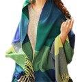 Cashmere Pastoral Knitted Plaid Scarf Wraps Tassel Scarf Women Soft Warm Shawl Women Winter Scarf