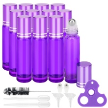 12PCS Thick 10ML Purple Essential Oil Glass Bottle Roller Ball Bottles Steel Ball with Ball Opener Dropper Fuunel essential oil opener key tool remover for roller balls and caps bottles plastic opener roller bottle corkscrew tool