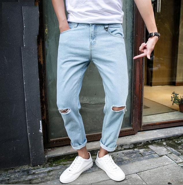 Новый 2017 Мода Повседневная Джинсы мужчины Летом Slim Fit Шаровары hip hop мальчик синий тонкий студенты подростки человек лодыжки длина брюки